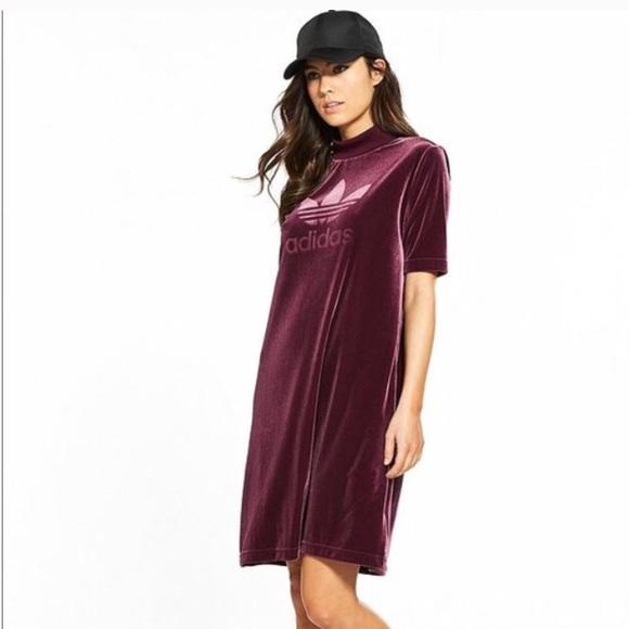 9ab75e450f9b Adidas Originals Maroon Velvet Vibes Short Dress